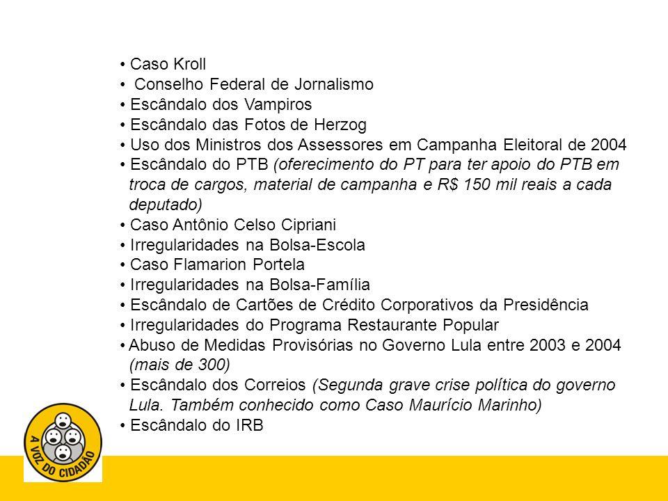 Escândalo da Novadata Escândalo da Usina de Itaipu Escândalo das Furnas Escândalo do Mensalão (Terceira grave crise política do governo.