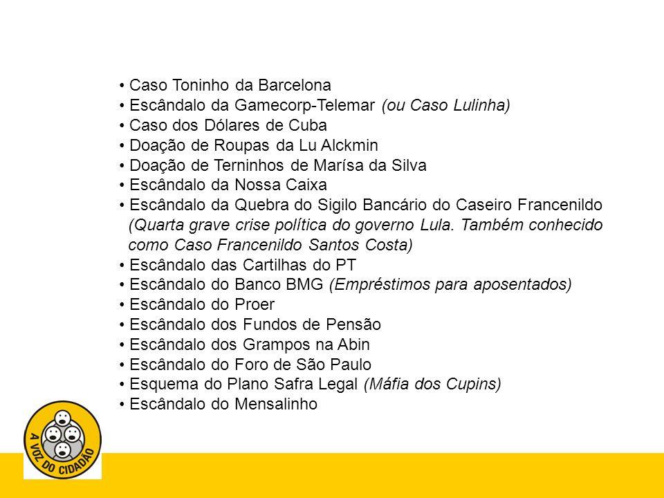 Escândalo das Vendas de Madeira da Amazônia 69 CPIs Abafadas pelo Geraldo Alckmin (em São Paulo) Escândalo de Corrupção dos Ministros no Governo Lula Crise da Varig Escândalo das Sanguessugas (Quinta grave crise política do governo Lula.
