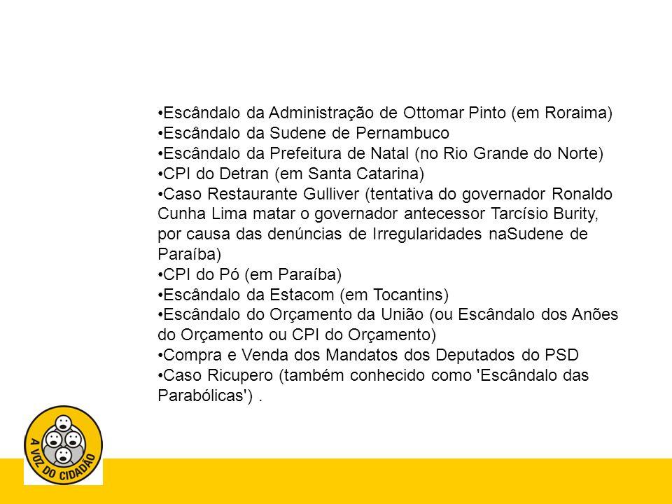 Governo Fernando Henrique (1995- 2003) Escândalo do Sivam Escândalo da Pasta Rosa Escândalo da CONAN Escândalo da Administração de Paulo Maluf Escândalo do BNDES (verbas para socorrerem ex-estatais privatizadas) Escândalo da Telebrás Caso PC Farias Escândalo da Compra de Votos Para Emenda DA Reeleição Escândalo da Venda da Companhia Vale do Rio Doce Escândalo da Previdência Escândalo da Administração do PT (primeira denúncia contra o Partido dos Trabalhadores desde a fundação em 1980, feito pelo militante do partido Paulo de Tarso Venceslau)