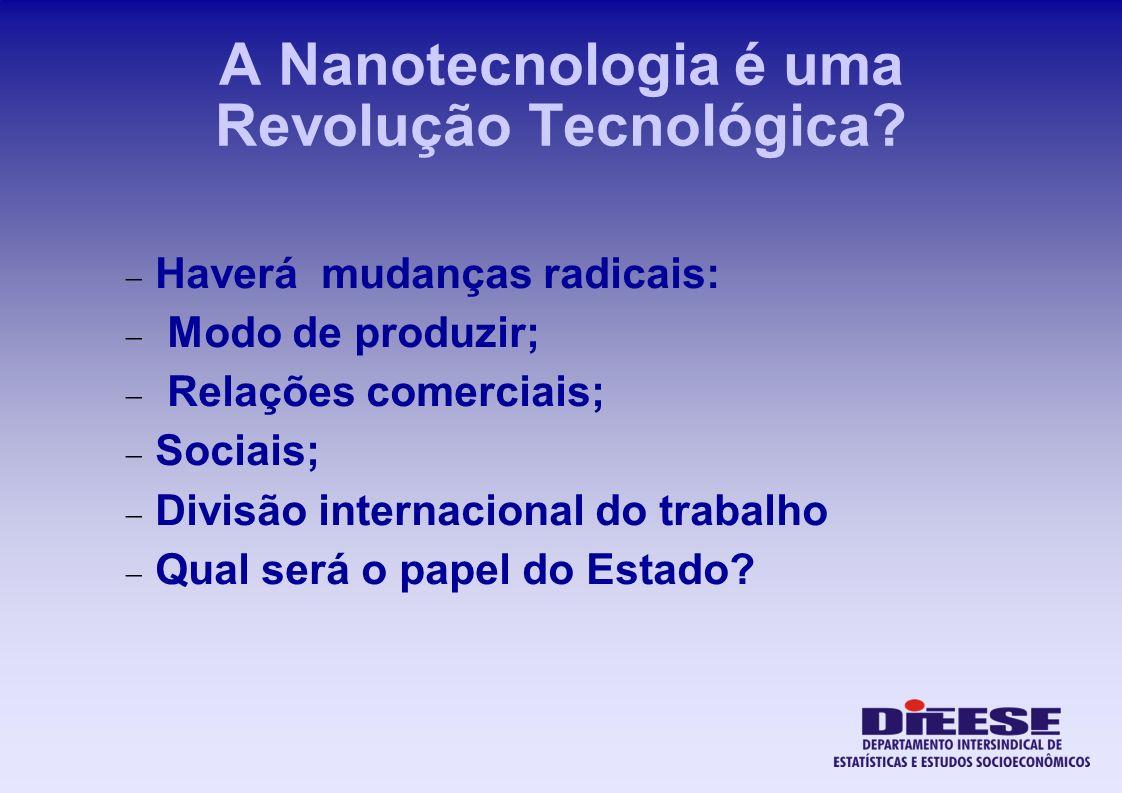 A Nanotecnologia é uma Revolução Tecnológica? Haverá mudanças radicais: Modo de produzir; Relações comerciais; Sociais; Divisão internacional do traba