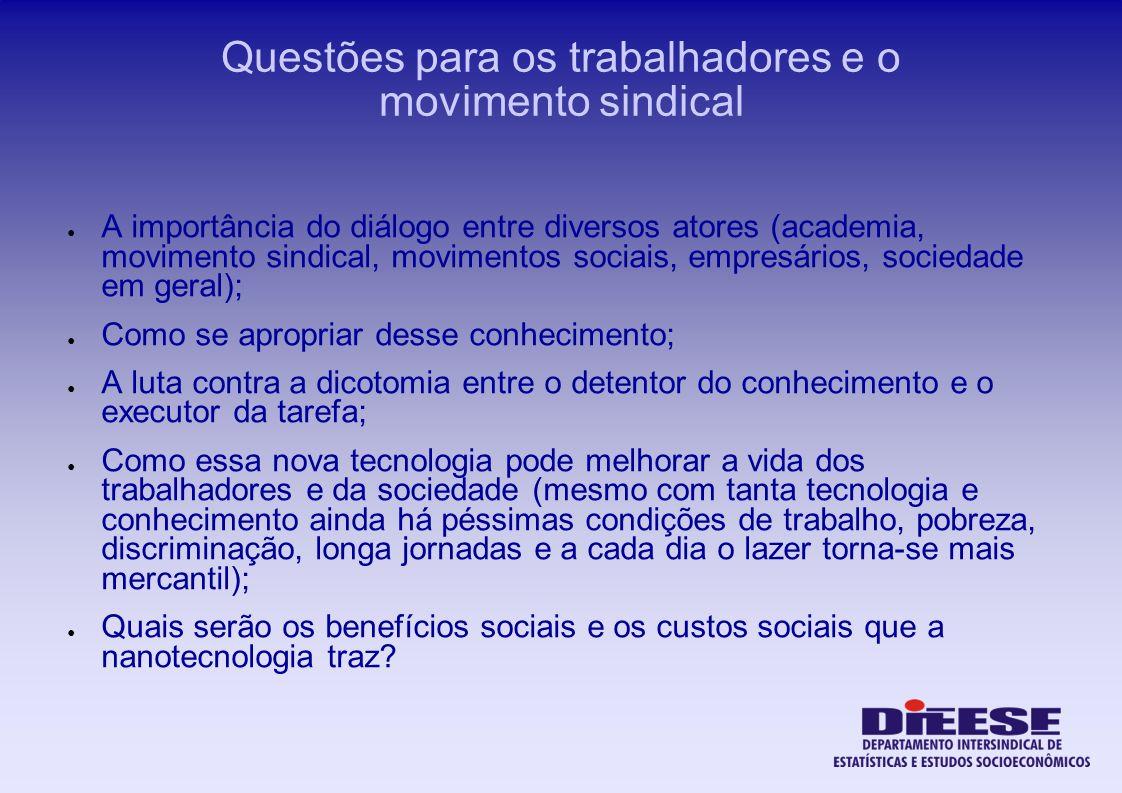 Questões para os trabalhadores e o movimento sindical A importância do diálogo entre diversos atores (academia, movimento sindical, movimentos sociais