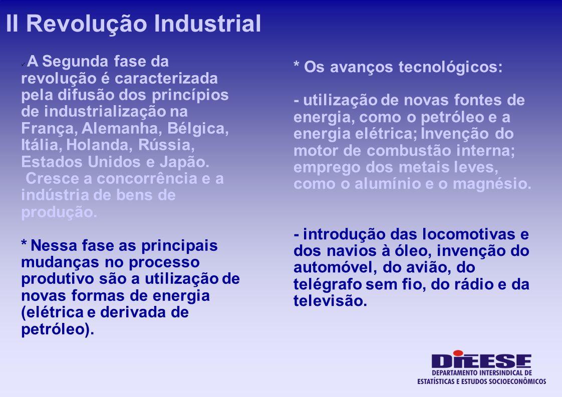 * Os avanços tecnológicos: - utilização de novas fontes de energia, como o petróleo e a energia elétrica; Invenção do motor de combustão interna; empr