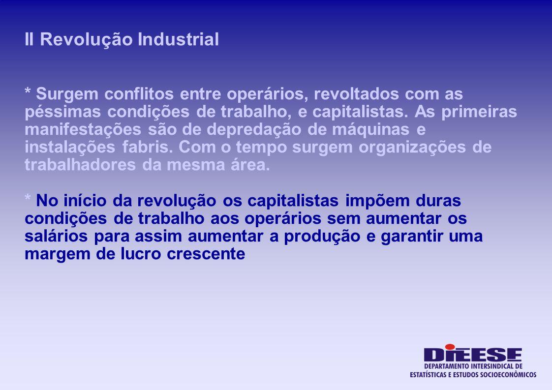 II Revolução Industrial * Surgem conflitos entre operários, revoltados com as péssimas condições de trabalho, e capitalistas. As primeiras manifestaçõ
