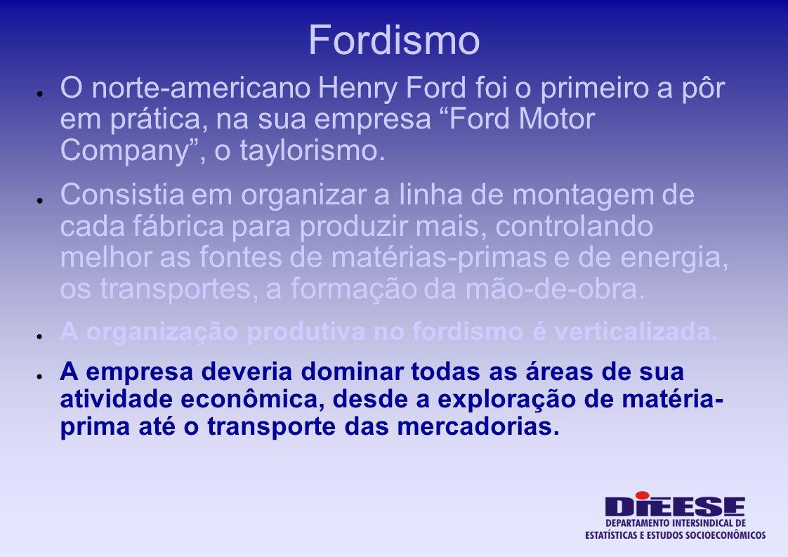 Fordismo O norte-americano Henry Ford foi o primeiro a pôr em prática, na sua empresa Ford Motor Company, o taylorismo. Consistia em organizar a linha