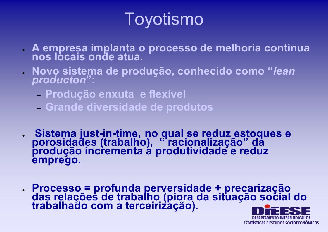 Toyotismo A empresa implanta o processo de melhoria contínua nos locais onde atua. Novo sistema de produção, conhecido como lean producton: Produção e