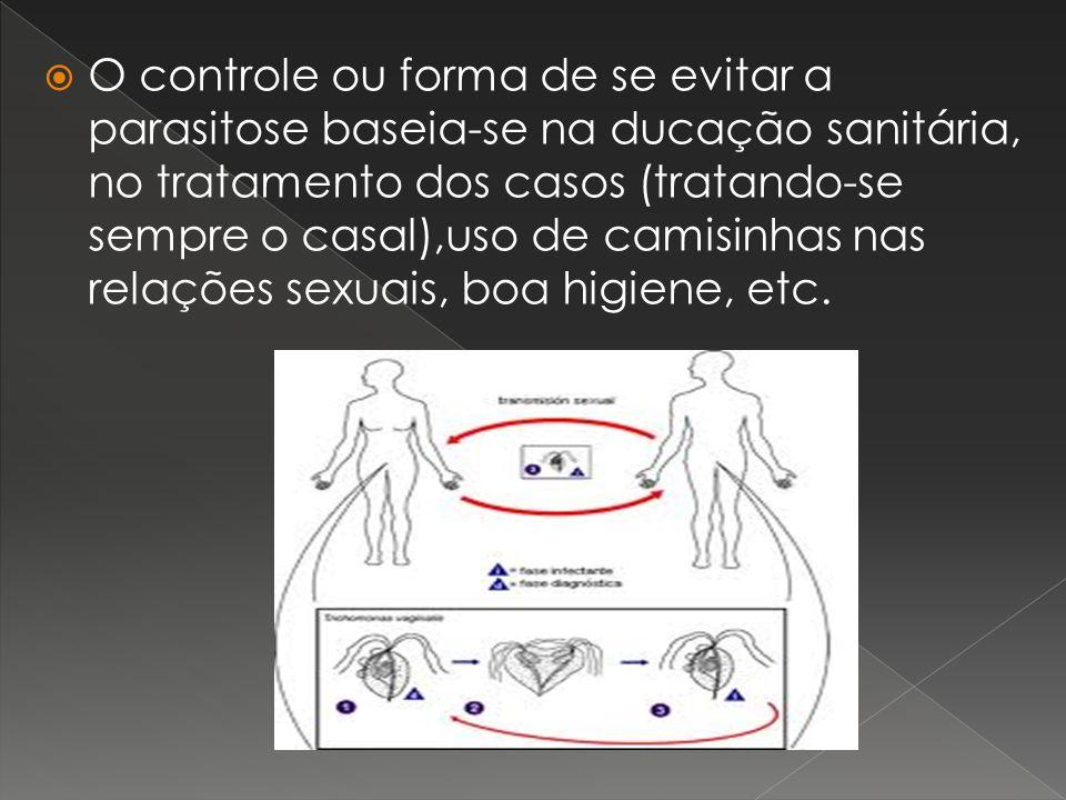 O controle ou forma de se evitar a parasitose baseia-se na ducação sanitária, no tratamento dos casos (tratando-se sempre o casal),uso de camisinhas n