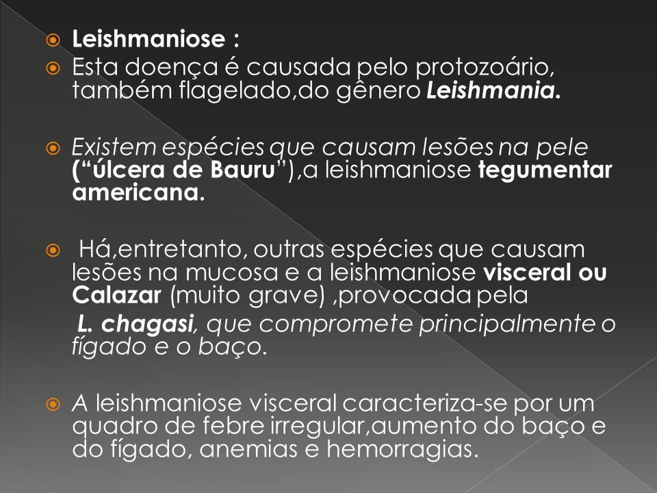 Leishmaniose : Esta doença é causada pelo protozoário, também flagelado,do gênero Leishmania. Existem espécies que causam lesões na pele (úlcera de Ba