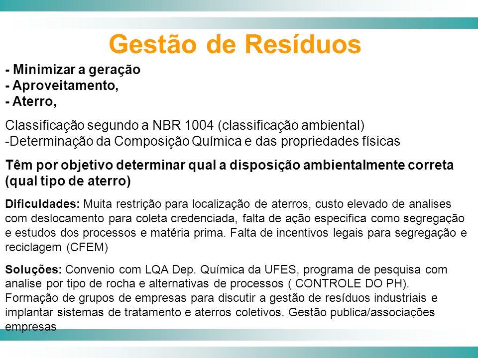 - Minimizar a geração - Aproveitamento, - Aterro, Classificação segundo a NBR 1004 (classificação ambiental) -Determinação da Composição Química e das