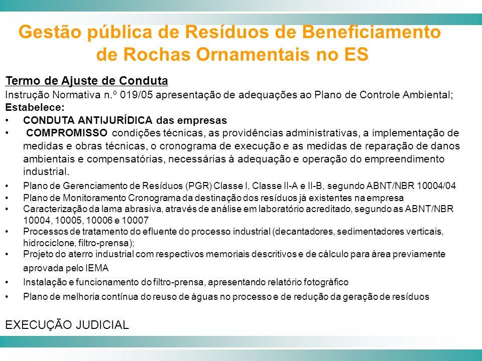 Termo de Ajuste de Conduta Instrução Normativa n.º 019/05 apresentação de adequações ao Plano de Controle Ambiental; Estabelece: CONDUTA ANTIJURÍDICA