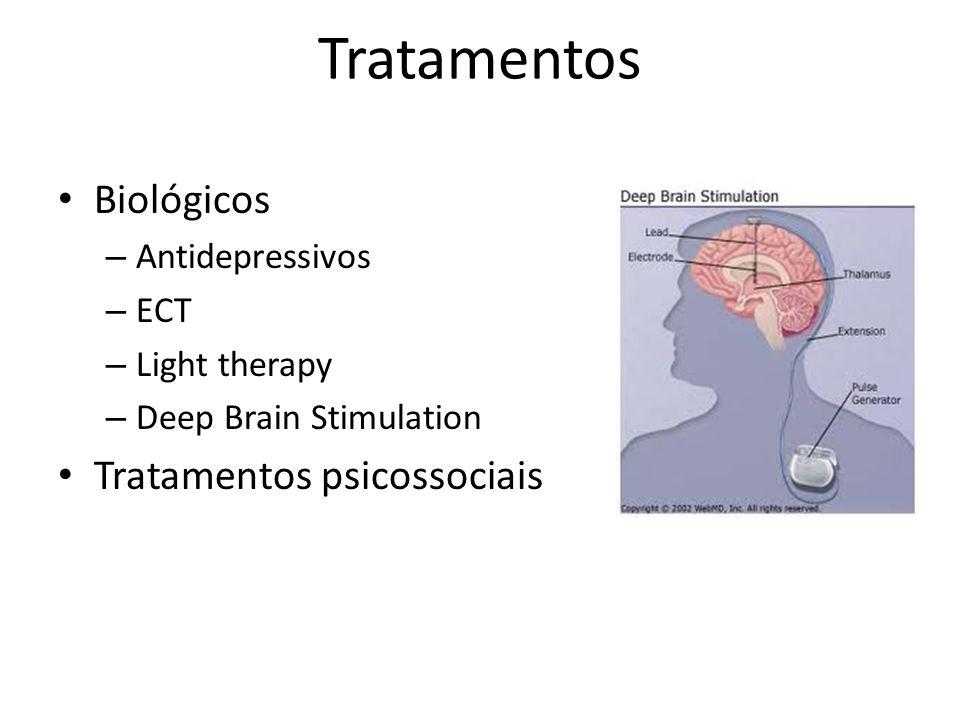 Tratamentos Biológicos – Antidepressivos – ECT – Light therapy – Deep Brain Stimulation Tratamentos psicossociais