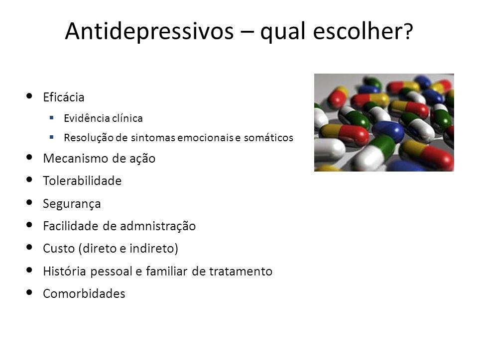 Antidepressivos – qual escolher ? Eficácia Evidência clínica Resolução de sintomas emocionais e somáticos Mecanismo de ação Tolerabilidade Segurança F