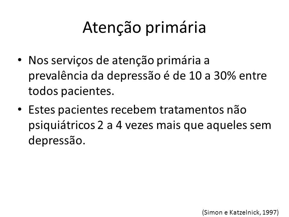 Atenção primária Nos serviços de atenção primária a prevalência da depressão é de 10 a 30% entre todos pacientes. Estes pacientes recebem tratamentos