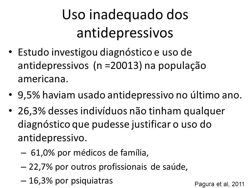 Antidepressivos - eficácia Entre 30 e 50% dos pacientes depressivos têm uma resposta inadequada ao primeiro antidepressivo utilizado Razões para falta de eficácia: – Dosagem muito baixa – Duração muito curta – Falta de aderência – Efeitos colaterais intoleráveis
