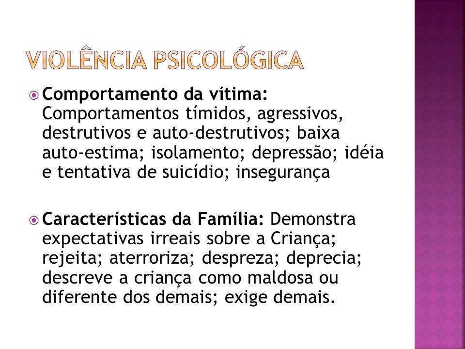 Comportamento da vítima: Comportamentos tímidos, agressivos, destrutivos e auto-destrutivos; baixa auto-estima; isolamento; depressão; idéia e tentati