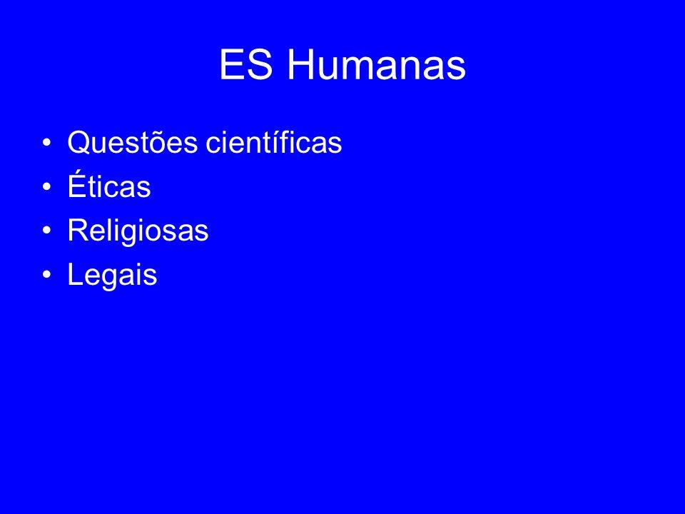 ES Humanas Questões científicas Éticas Religiosas Legais