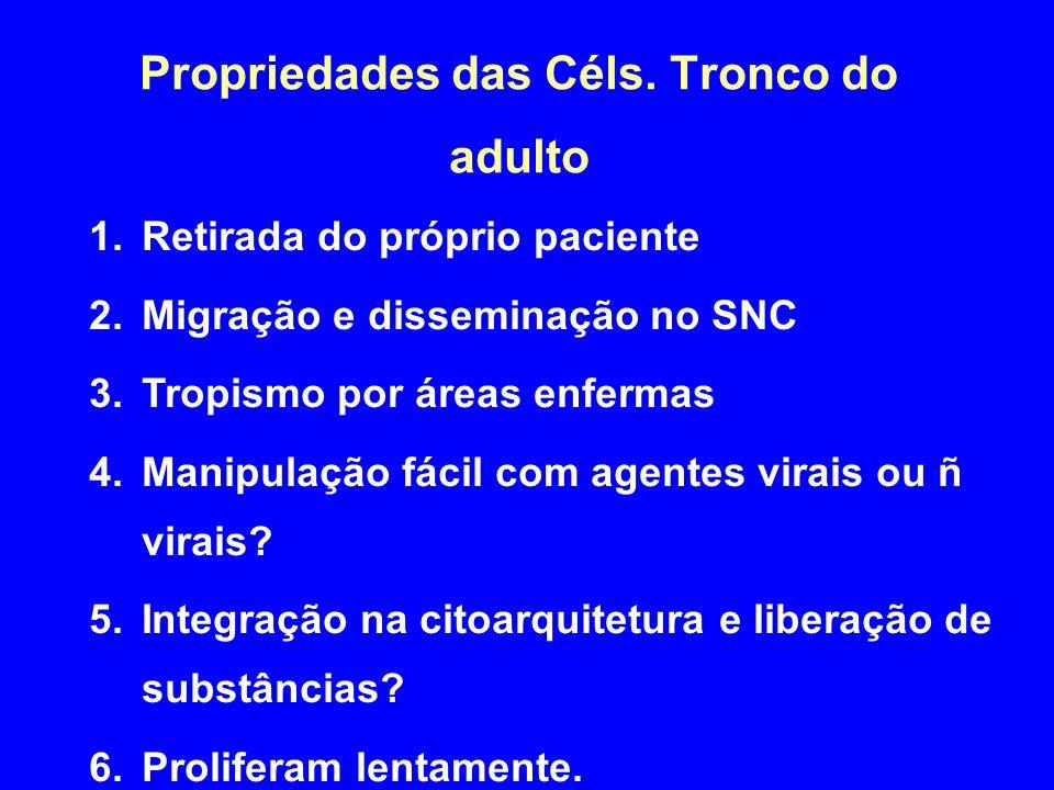 Propriedades das Céls. Tronco do adulto 1.Retirada do próprio paciente 2.Migração e disseminação no SNC 3.Tropismo por áreas enfermas 4.Manipulação fá