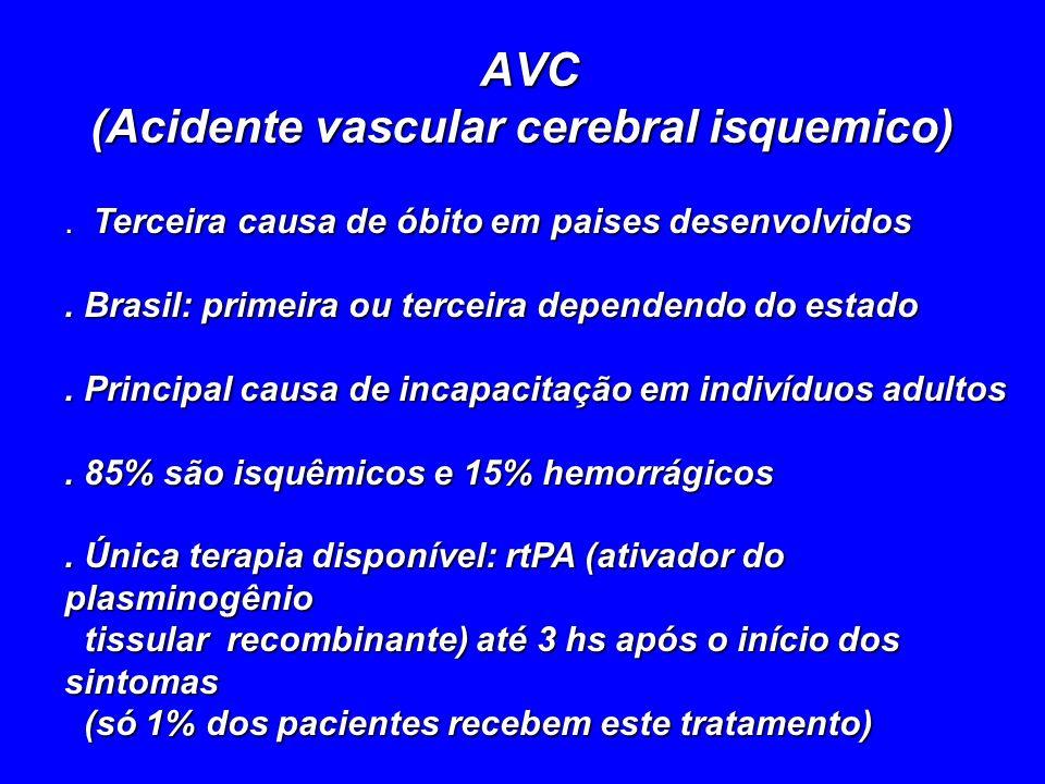 AVC (Acidente vascular cerebral isquemico). Terceira causa de óbito em paises desenvolvidos. Brasil: primeira ou terceira dependendo do estado. Princi