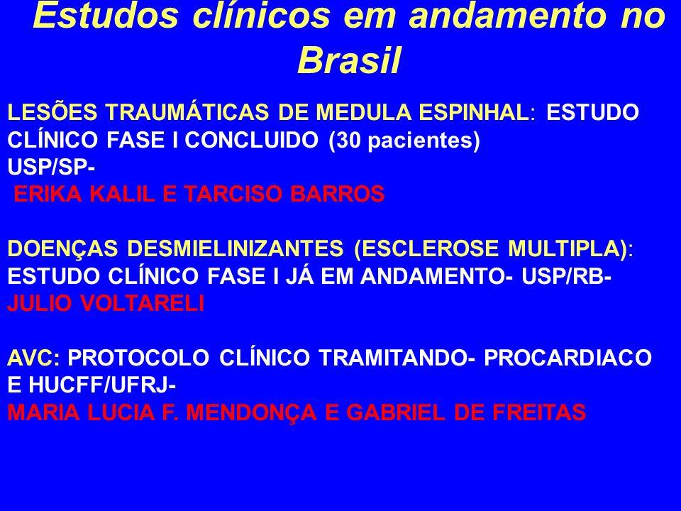 Estudos clínicos em andamento no Brasil LESÕES TRAUMÁTICAS DE MEDULA ESPINHAL: ESTUDO CLÍNICO FASE I CONCLUIDO (30 pacientes) USP/SP- ERIKA KALIL E TA
