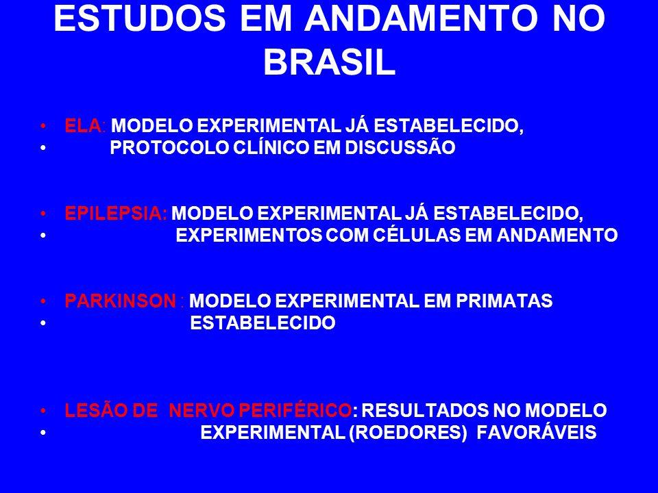 ESTUDOS EM ANDAMENTO NO BRASIL ELA: MODELO EXPERIMENTAL JÁ ESTABELECIDO, PROTOCOLO CLÍNICO EM DISCUSSÃO EPILEPSIA: MODELO EXPERIMENTAL JÁ ESTABELECIDO