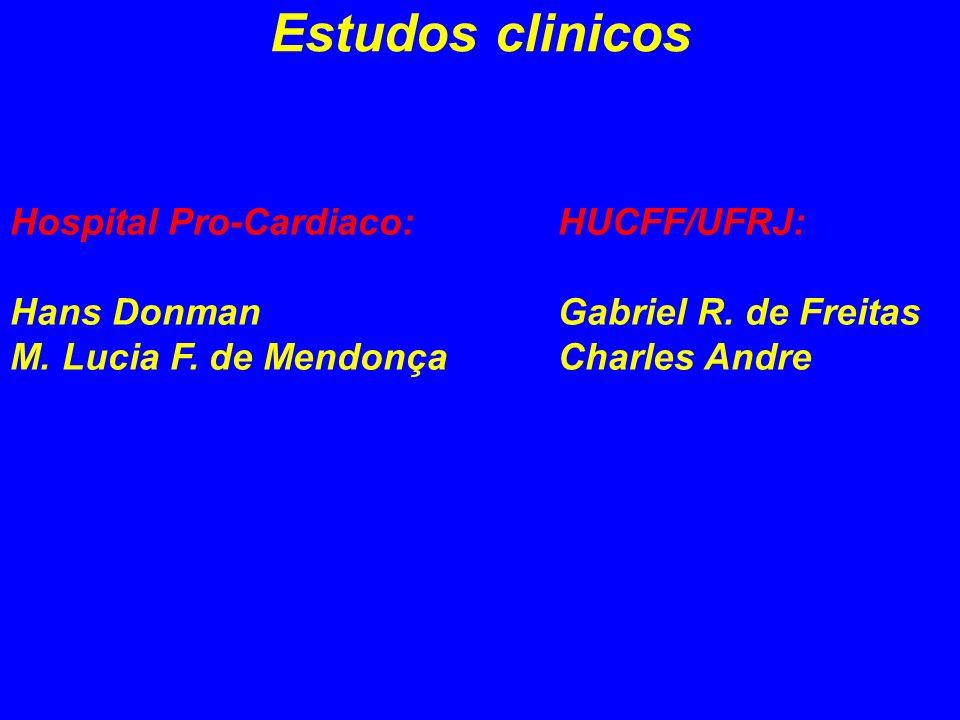 Estudos clinicos Hospital Pro-Cardiaco: Hans Donman M. Lucia F. de Mendonça HUCFF/UFRJ: Gabriel R. de Freitas Charles Andre