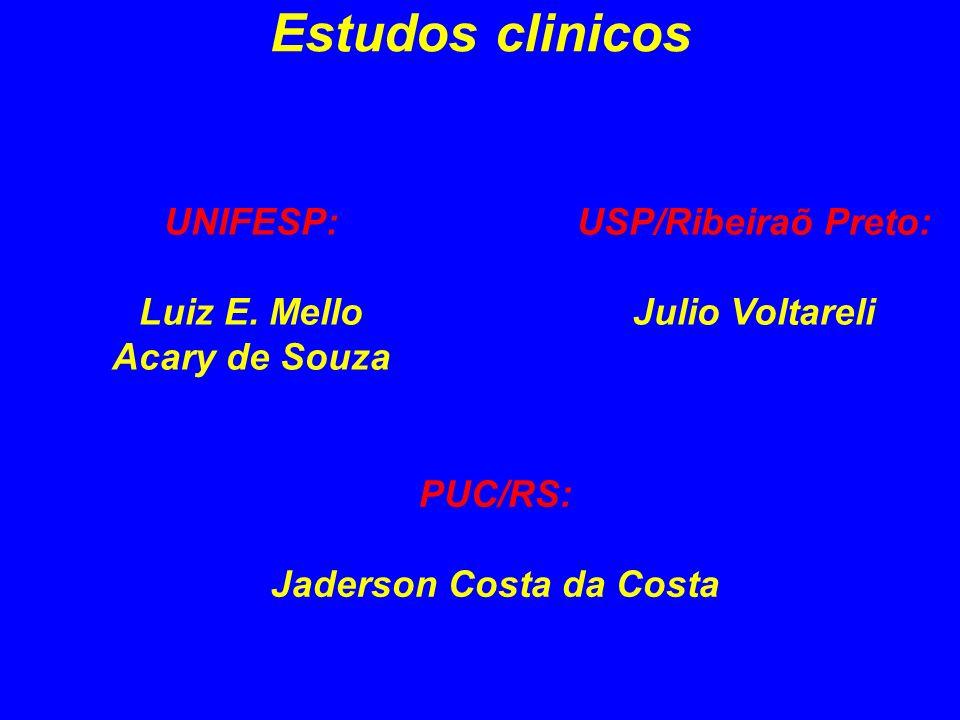 Estudos clinicos UNIFESP: Luiz E. Mello Acary de Souza USP/Ribeiraõ Preto: Julio Voltareli PUC/RS: Jaderson Costa da Costa