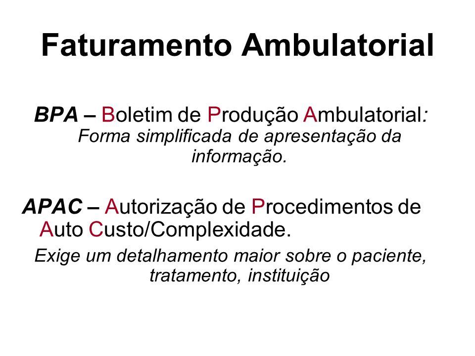 Faturamento Ambulatorial BPA – Boletim de Produção Ambulatorial: Forma simplificada de apresentação da informação. APAC – Autorização de Procedimentos