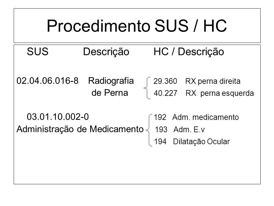 Procedimento SUS / HC SUS DescriçãoHC / Descrição 02.04.06.016-8 Radiografia 29.360 RX perna direita de Perna 40.227 RX perna esquerda 03.01.10.002-0