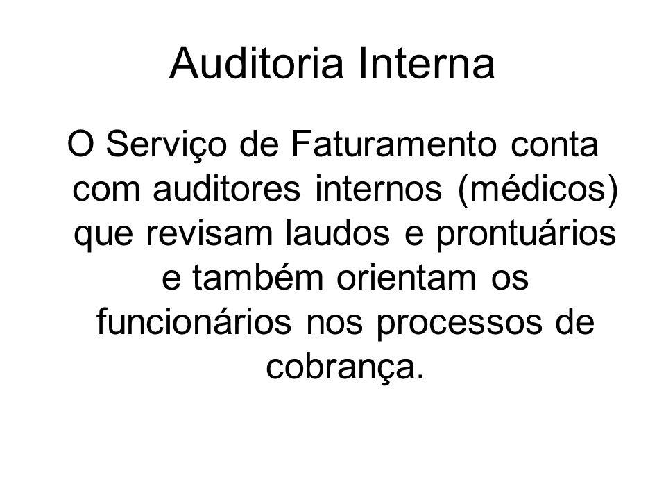 Auditoria Interna O Serviço de Faturamento conta com auditores internos (médicos) que revisam laudos e prontuários e também orientam os funcionários n