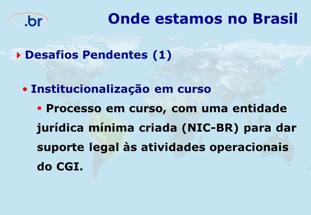 Institucionalização em curso Processo em curso, com uma entidade jurídica mínima criada (NIC-BR) para dar suporte legal às atividades operacionais do