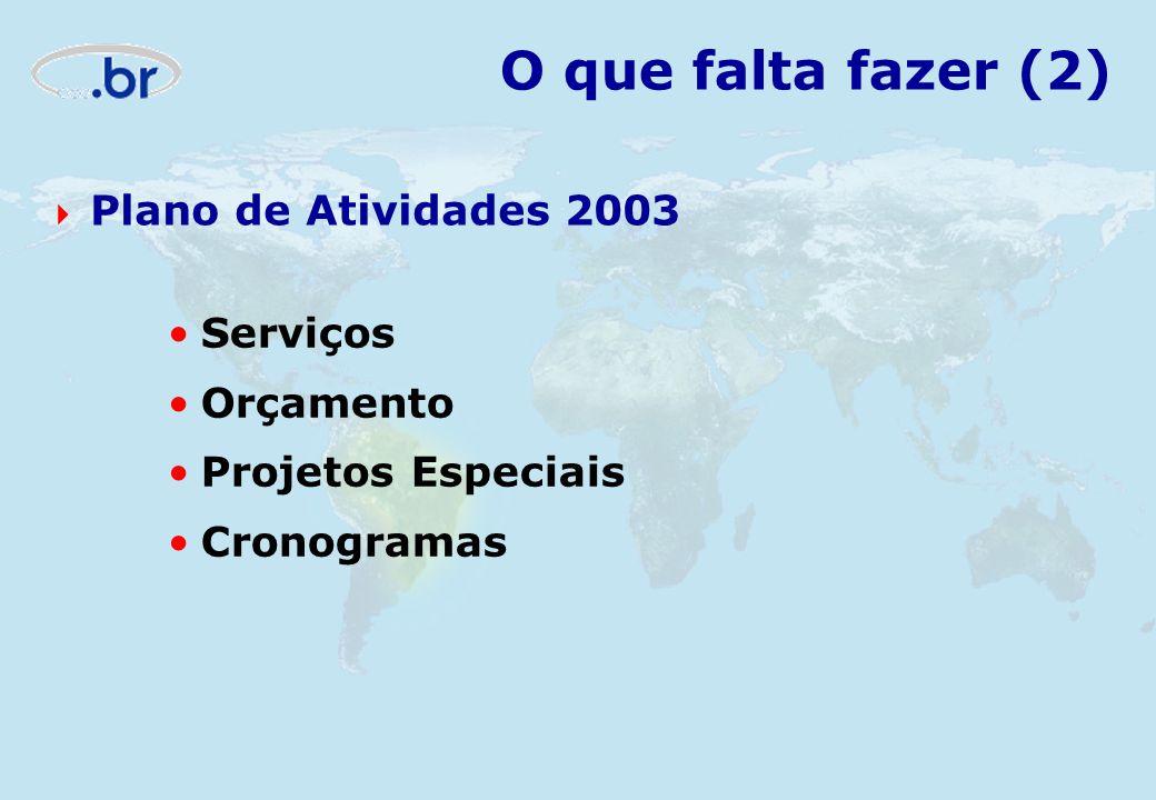O que falta fazer (2) Plano de Atividades 2003 Serviços Orçamento Projetos Especiais Cronogramas