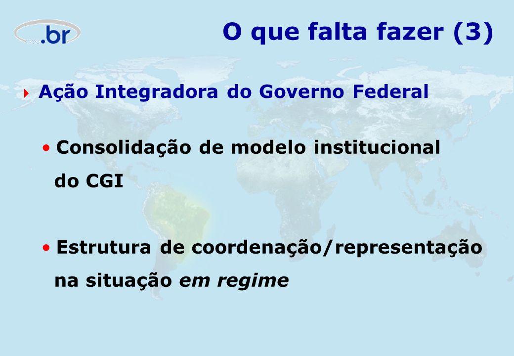 O que falta fazer (3) Ação Integradora do Governo Federal Consolidação de modelo institucional do CGI Estrutura de coordenação/representação na situaç