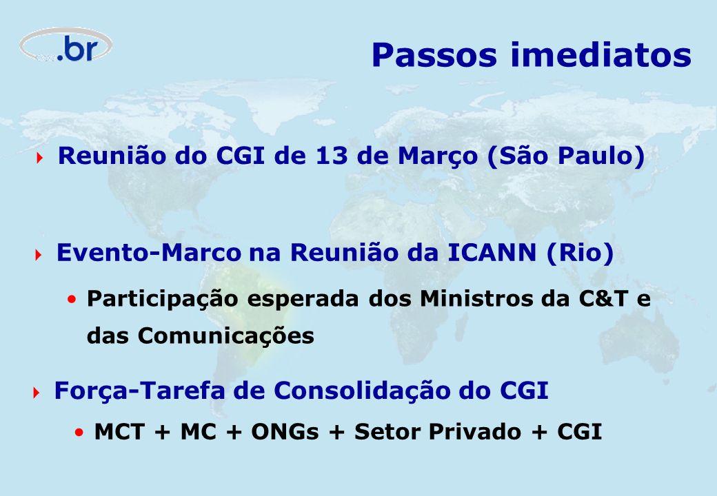 Passos imediatos Reunião do CGI de 13 de Março (São Paulo) Evento-Marco na Reunião da ICANN (Rio) Participação esperada dos Ministros da C&T e das Com