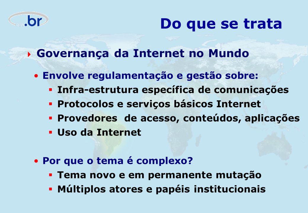 Envolve regulamentação e gestão sobre: Infra-estrutura específica de comunicações Protocolos e serviços básicos Internet Provedores de acesso, conteúd