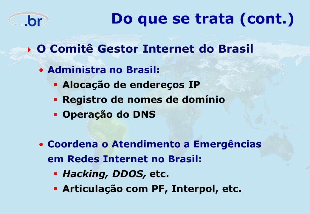 Administra no Brasil: Alocação de endereços IP Registro de nomes de domínio Operação do DNS Coordena o Atendimento a Emergências em Redes Internet no