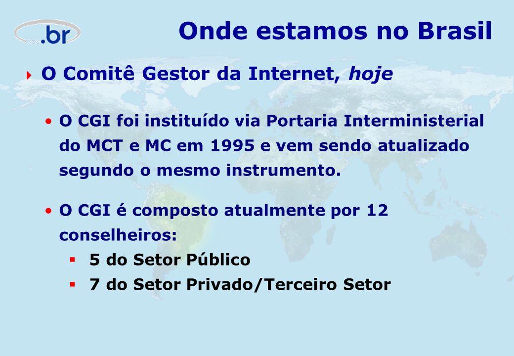 O CGI foi instituído via Portaria Interministerial do MCT e MC em 1995 e vem sendo atualizado segundo o mesmo instrumento. O CGI é composto atualmente