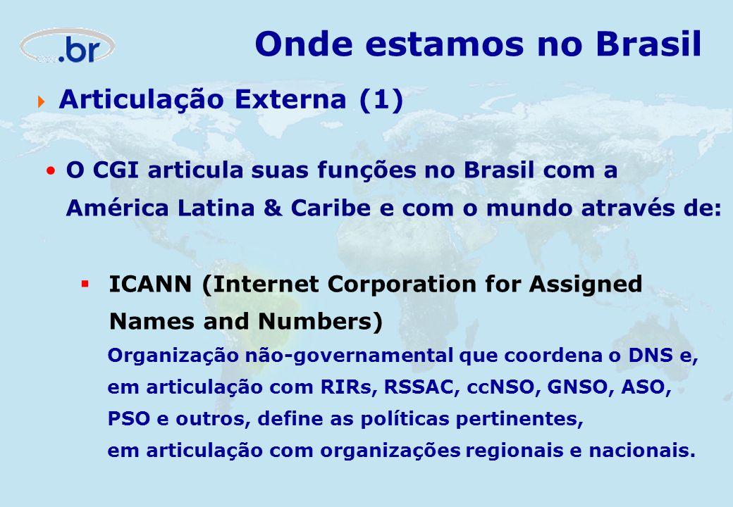 O CGI articula suas funções no Brasil com a América Latina & Caribe e com o mundo através de: ICANN (Internet Corporation for Assigned Names and Numbe