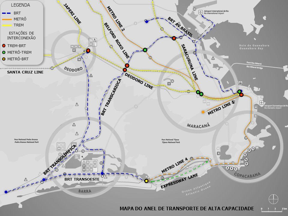 MAPA DO ANEL DE TRANSPORTE DE ALTA CAPACIDADE METRO LINE 2 METRO LINE 4 METRO LINE 1 DEODORO LINE SARACURUNA LINE SANTA CRUZ LINE BELFORD ROXO LINE JA