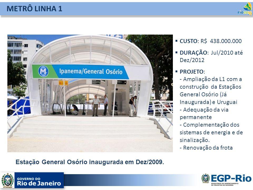 METRÔ LINHA 1 CUSTO: R$ 438.000.000 DURAÇÃO: Jul/2010 até Dez/2012 PROJETO: - Ampliação da L1 com a construção da Estaçãos General Osório (Já Inaugura