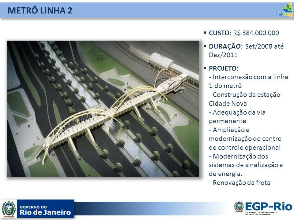 METRÔ LINHA 2 CUSTO: R$ 384.000.000 DURAÇÃO: Set/2008 até Dez/2011 PROJETO: - Interconexão com a linha 1 do metrô - Construção da estação Cidade Nova