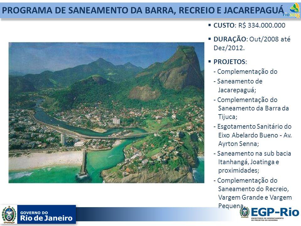 PROGRAMA DE SANEAMENTO DA BARRA, RECREIO E JACAREPAGUÁ CUSTO: R$ 334.000.000 DURAÇÃO: Out/2008 até Dez/2012. PROJETOS: - Complementação do - Saneament
