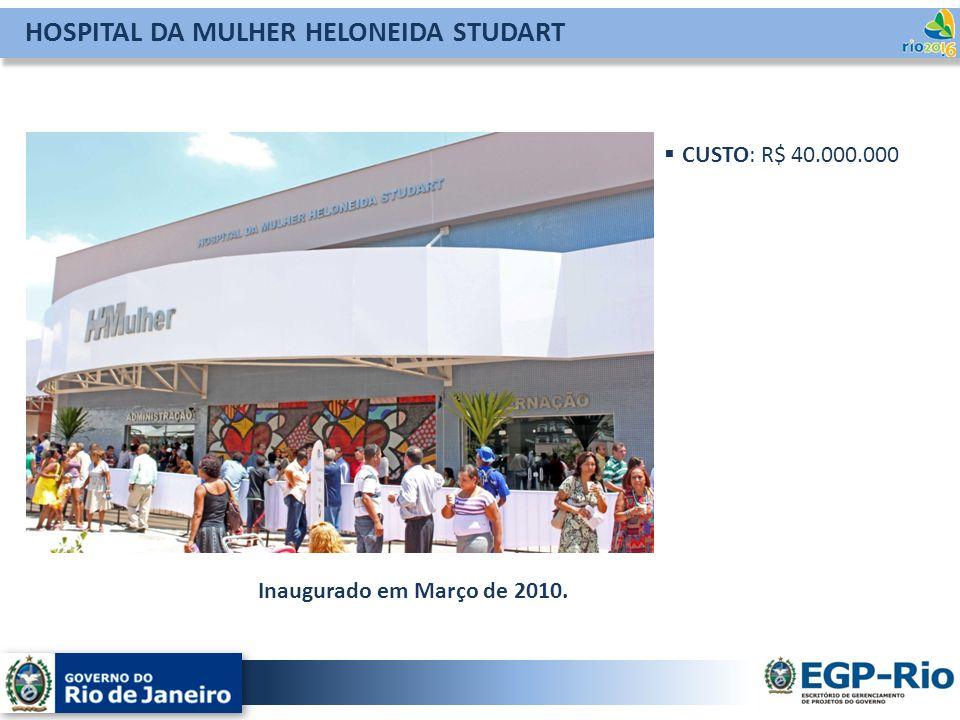 HOSPITAL DA MULHER HELONEIDA STUDART CUSTO: R$ 40.000.000 Inaugurado em Março de 2010.
