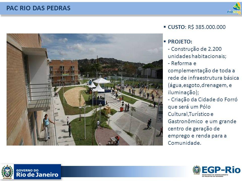 PAC RIO DAS PEDRAS CUSTO: R$ 385.000.000 PROJETO: - Construção de 2.200 unidades habitacionais; - Reforma e complementação de toda a rede de infraestr
