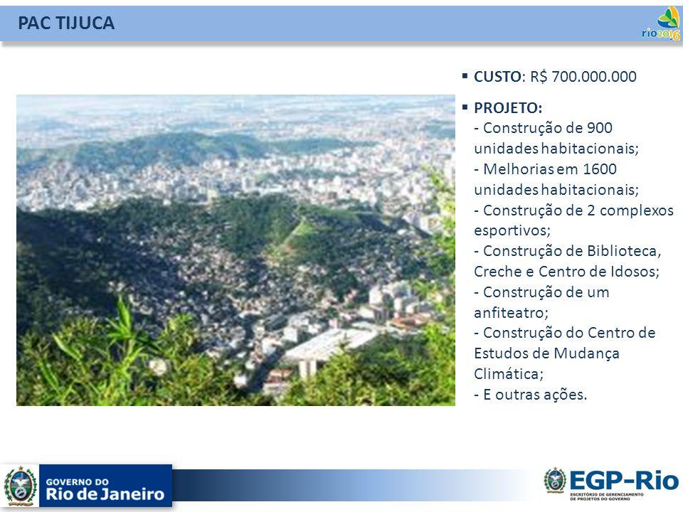 PAC TIJUCA CUSTO: R$ 700.000.000 PROJETO: - Construção de 900 unidades habitacionais; - Melhorias em 1600 unidades habitacionais; - Construção de 2 co
