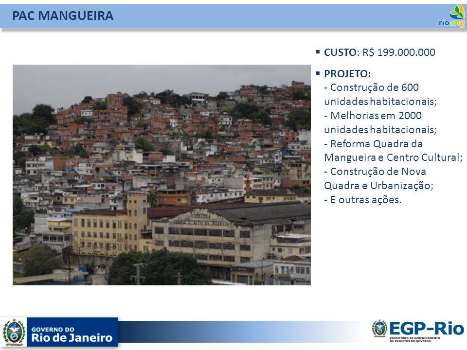 PAC MANGUEIRA CUSTO: R$ 199.000.000 PROJETO: - Construção de 600 unidades habitacionais; - Melhorias em 2000 unidades habitacionais; - Reforma Quadra