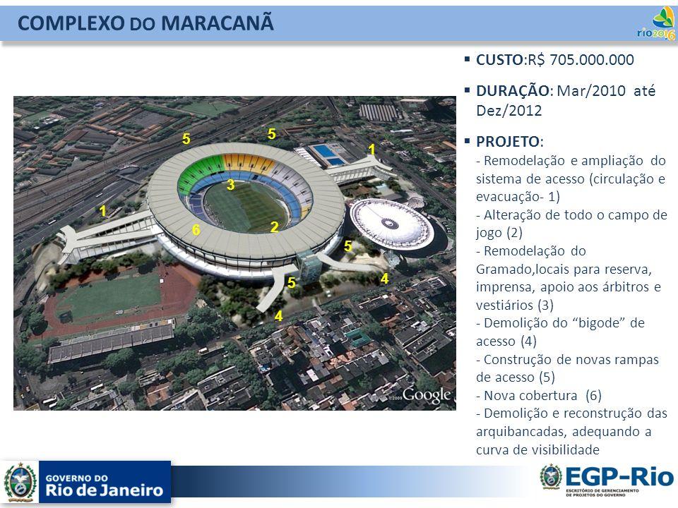COMPLEXO DO MARACANÃ CUSTO:R$ 705.000.000 DURAÇÃO: Mar/2010 até Dez/2012 PROJETO: - Remodelação e ampliação do sistema de acesso (circulação e evacuaç