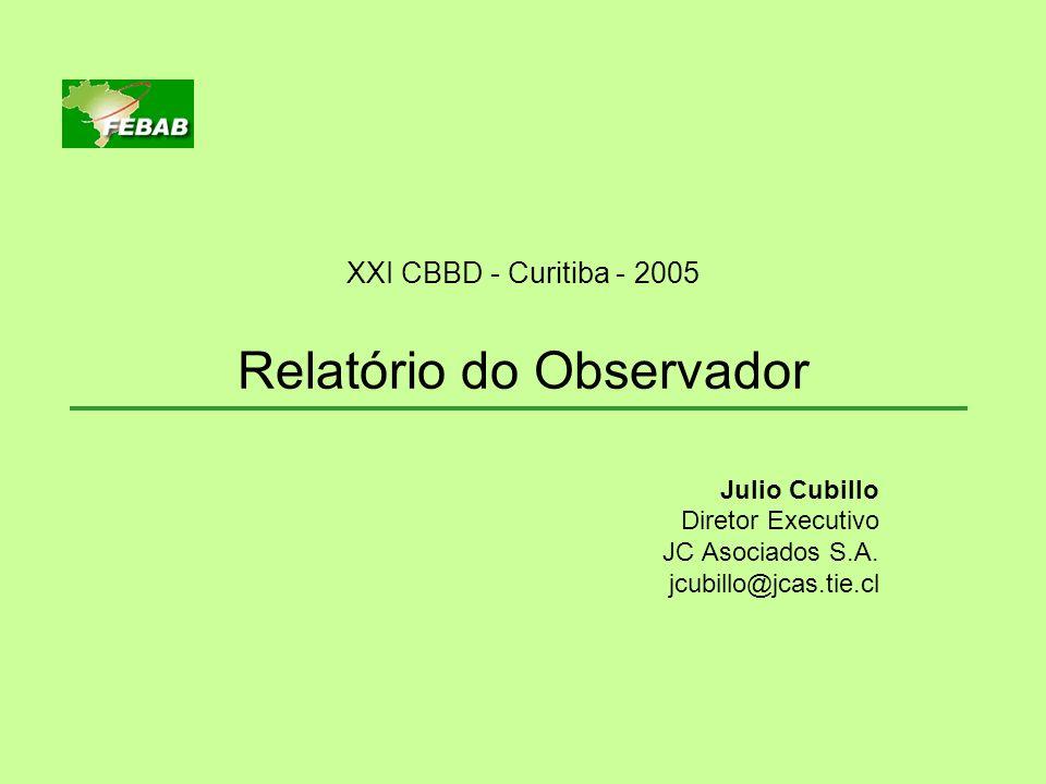 XXI CBBD - Curitiba - 2005 Relatório do Observador Julio Cubillo Diretor Executivo JC Asociados S.A. jcubillo@jcas.tie.cl