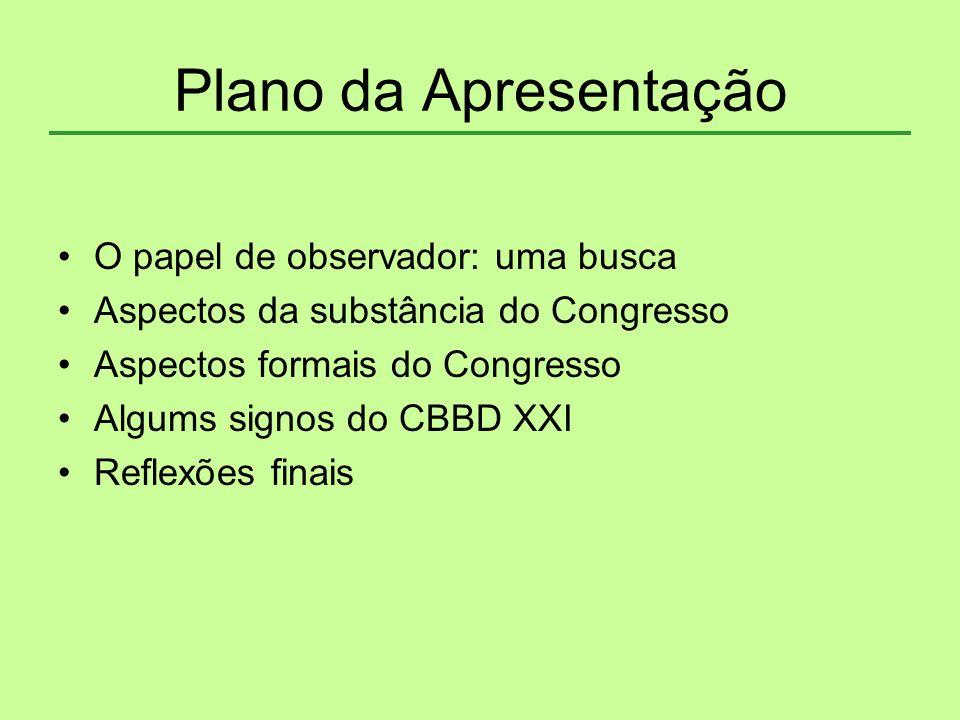 Plano da Apresentação O papel de observador: uma busca Aspectos da substância do Congresso Aspectos formais do Congresso Algums signos do CBBD XXI Ref