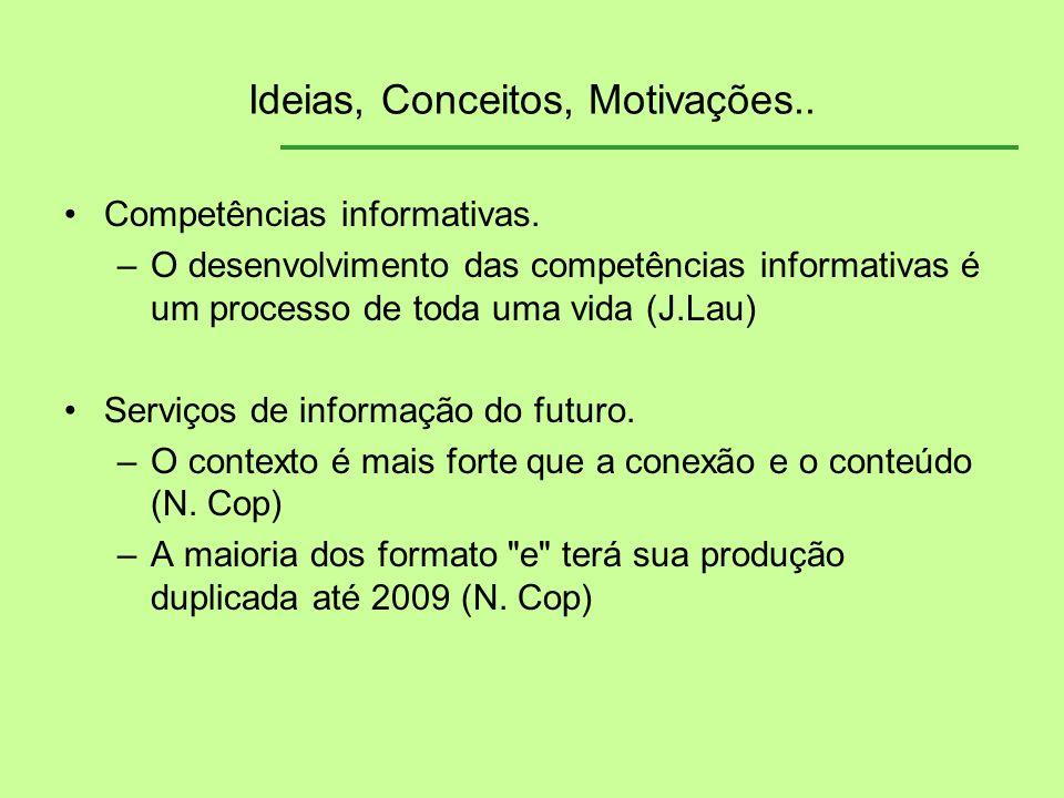 Ideias, Conceitos, Motivações.. Competências informativas. –O desenvolvimento das competências informativas é um processo de toda uma vida (J.Lau) Ser