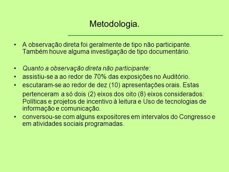 Metodologia. A observação direta foi geralmente de tipo não participante. Também houve alguma investigação de tipo documentário. Quanto a observação d