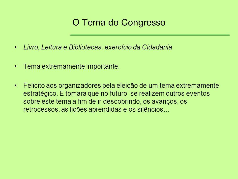 O Tema do Congresso Livro, Leitura e Bibliotecas: exercício da Cidadania Tema extremamente importante. Felicito aos organizadores pela eleição de um t